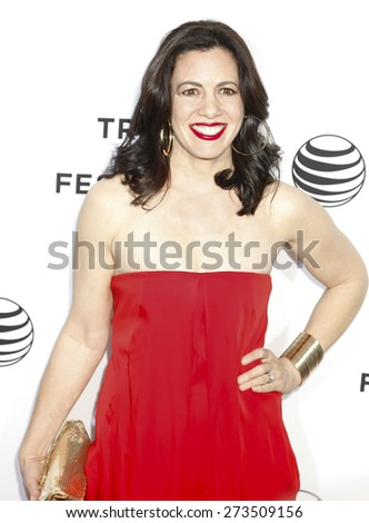 New York, NY, USA - April 15, 2015: Actress Jacqueline Mazarella attends the world premiere of LLVE FROM NEW YORK during the 2015 Tribeca Film Festival at The Beacon Theatre, Manhattan - stock photo