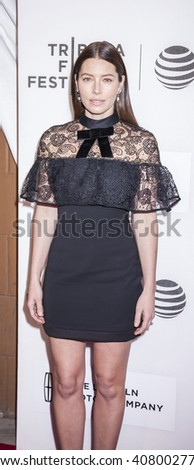 New York, NY, USA - April 14, 2016: Actress Jessica Biel attends 'The Devil And The Deep Blue Sea' premiere during the 2016 Tribeca Film Festivalat at the John Zuccotti Theater at BMCC Tribeca PAC - stock photo