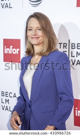 New York, NY, USA - April 21, 2016: Actress Jodie Foster attends the 'Taxi Driver' 40th Anniversary Celebration during the 2016 Tribeca Film Festival at The Beacon Theatre, NYC - stock photo