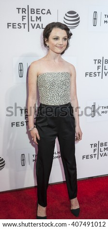 New York, NY, USA - April 15, 2016: Actress Stefania LaVie Owen attends 'All We Had' premiere during the 2016 Tribeca Film Festival at the John Zuccotti Theater at BMCC Tribeca Performing Arts Center - stock photo