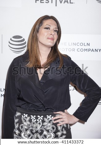 New York, NY, USA - April 20, 2016: Comedian Michelle Collins attends the 'A Hologram For The King' premiere during the 2016 Tribeca Film Festival at the John Zuccotti Theater at BMCC Tribeca PAC - stock photo