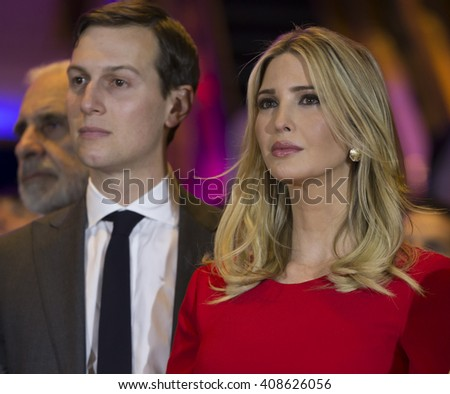 New York, NY USA - April 19, 2016: Jared Kushner, Ivanka Trump attend Donald Trump victory celebration at Trump Tower on 5th Avenue - stock photo