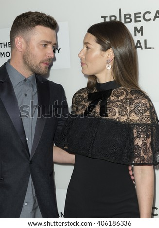 New York, NY USA - April 14, 2016: Justin Timberlake and Jessica Biel attend premiere of The Devil and the Deep Blue Sea during Tribeca film festival at BMCC