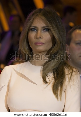 New York, NY USA - April 19, 2016: Melania Trump attend Donald Trump victory celebration at Trump Tower on 5th Avenue - stock photo
