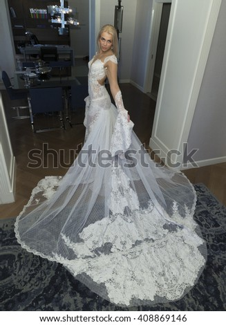 New York, NY USA - April 18, 2016: Model shows off wedding gown by Nurit Hen during New York bridal weel at London Hotel