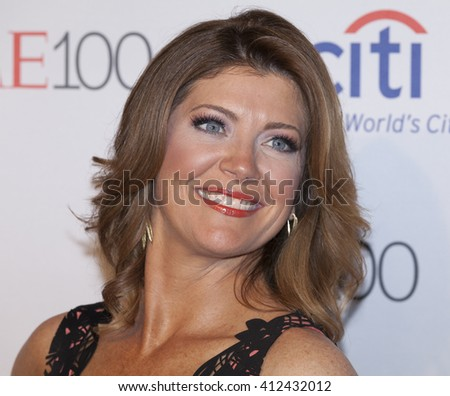 New York, NY USA - April 26, 2016: Norah O'Donnell attends Time 100 gala at Jazz at Lincoln Center - stock photo