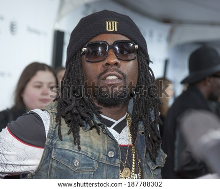 New York, NY, USA - April 16, 2014: Rapper Wale attends the 2014 Tribeca Film Festival Opening Night Premiere of 'Time Is Illmatic' at The Beacon Theatre, Manhattan - stock photo