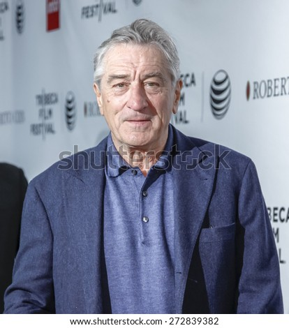 New York, NY, USA - April 25, 2015: Robert De Niro attends 2015 Tribeca Film Festival closing night, 25th anniversary of Goodfellas, co-sponsored by Infor and Roberto Coin  at Beacon Theatre - stock photo