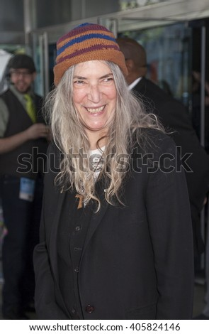 New York, NY, USA - April 14, 2016: Singer/songwriter Patti Smith attends Tribeca Talks Storytellers: Patti Smith With Ethan Hawke during 2016 Tribeca Film Festival at SVA Theatre, Manhattan - stock photo