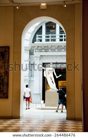 New York, NY USA  - August 12, 2013: Metropolitan Museum of Art: The Met is a NYC landmark which and is the largest art museum in the United States.  - stock photo