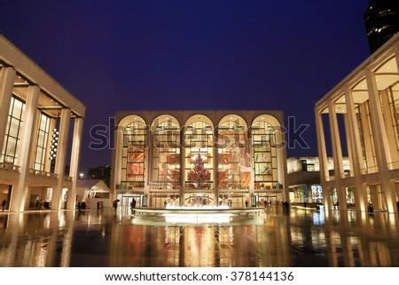 NEW YORK, NY, USA- DEC 7: Lincoln Center in Christmas Season, Dec 7, 2012 - stock photo