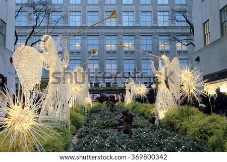 NEW YORK, NY, USA- DEC 26: Rockefeller center and Saks fifth avenue, December 26, 2013 - stock photo