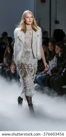 New York, NY, USA - February 12, 2016: A model walks the runway at the Nicole Miller runway show during of Fall/Winter 2016 New York Fashion Week at The Gallery, Skylight Clarcson Sq., Manhattan. - stock photo