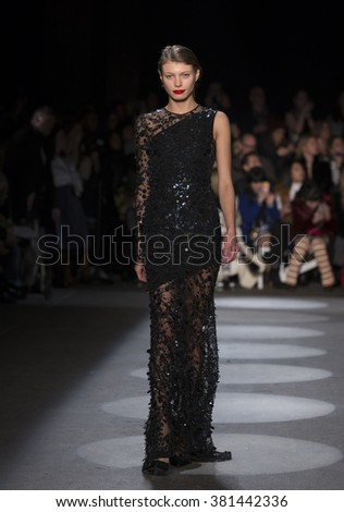 New York, NY USA - February 13, 2016: Model walks runway for Christian Siriano during New York Fall 2016 fashion week at Art Beam - stock photo