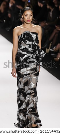 New York, NY, USA - February 19, 2015: Model walks runway for Mimi Tran Fall 2015 collection at Art Hearts Fashion Presented By AHF during Mercedes-Benz Fashion Week at The Theatre at Lincoln Center - stock photo