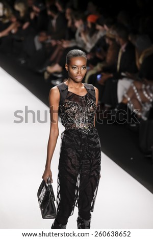 New York, NY, USA - February 19, 2015: Model walks the runway for House of Byfield Fall 2015 collection at the Art Hearts Fashion Presented By AHF during MBFW at The Theatre at Lincoln Center