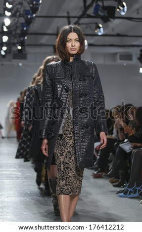 New York, NY, USA - February 09, 2014: Models walk runway for Tracy Reese Fall/ Winter 2014 Runway show during Mercedes-Benz Fashion Week New York at Center 548, Manhattan