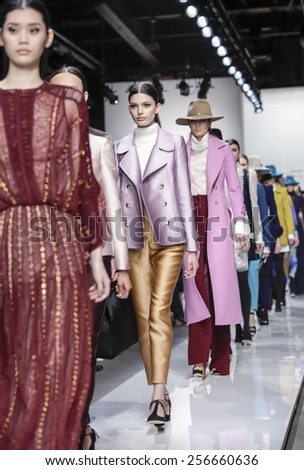 New York, NY, USA - February 13, 2015: Models walk runway for Zimmermann Fall 2015 Runway show during Mercedes-Benz Fashion Week New York at the ARTBEAM, Manhattan - stock photo