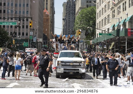 New York, NY USA - July 10, 2015:  Atmosphere during New York City Ticker Tape Parade For World Cup Champions U.S. Women Soccer National Team on Broadway - stock photo