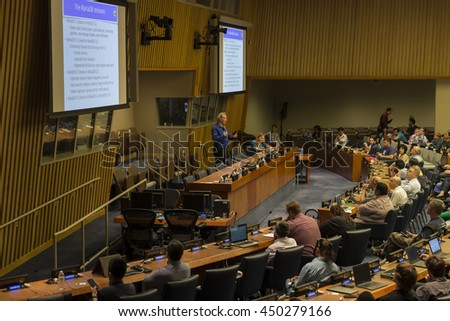 New York, NY USA - July 10, 2016: Atmosphere during Open Source Database Camp NYC at United Nations Headquarter - stock photo