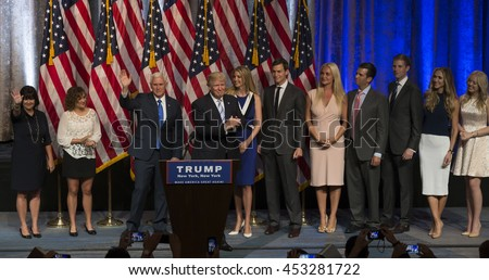 New York, NY USA - July 16, 2016: Donald Trump, Mike Pence and families on stage after introduction Governor Mike Pence as running for vice president at Hilton hotel Midtown Manhattan