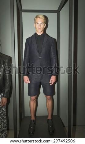 New York, NY USA - July 14, 2015: Model Mitchell Slaggert poses at Anzevino Getty presentation during Menâ??s fashion week S/S 2016 at Skylight Clarkson Square - stock photo