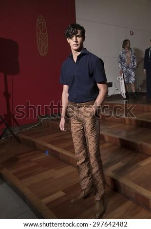 New York, NY USA - July 14, 2015: Model poses at Malan Breton presentation during Men's fashion week S/S 2016 at Taipei Economic & Cultural Office - stock photo