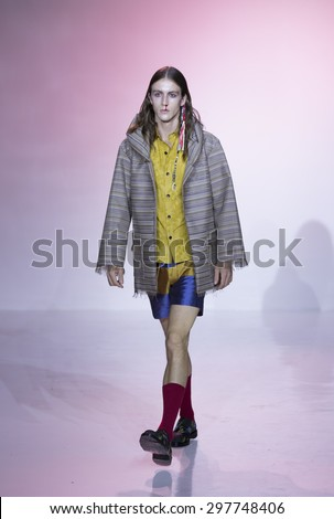 New York, NY USA - July 14, 2015: Model walks runway for Thaddeus O'Neil show during Mens fashion week S/S 2016 at Skylight Clarkson Square - stock photo