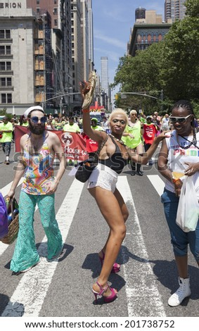 New York, NY USA - June 29, 2014: Atmosphere during annual 44th Pride Parade on Fifth Avenue in Manhattan