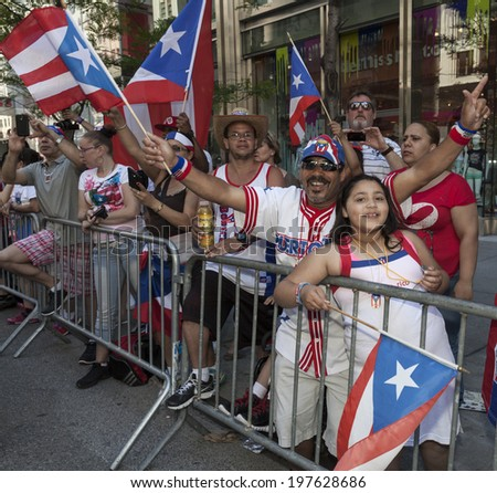 New York, NY USA - June 08, 2014: Atmosphere during 57th annual Puerto Rican Day parade on 5th Avenue in Manhattan