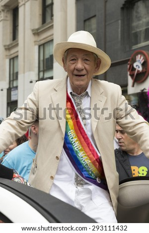 New York, NY USA - June 28, 2015: Sir Ian McKellen grand marshal of 46th annual Pride parade on 5th avenue in Manhattan