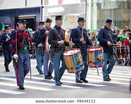 NEW YORK, NY, USA - MAR 17: Marching US military soldiers at the St. Patrick's Day Parade on March 17, 2012 in New York City, United States.