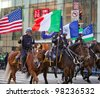 NEW YORK, NY, USA MAR 17:  Mounted NYPD policemen at the St. Patrick's Day Parade on March 17, 2012 in New York City, United States. - stock photo