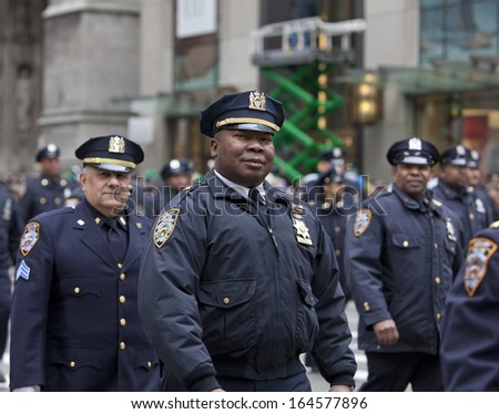 NEW YORK, NY, USA - MAR 16:  Police at the St. Patrick's Day Parade on March 16, 2013 in New York City, United States. - stock photo