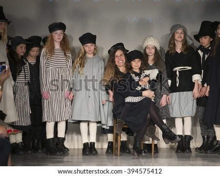 New York, NY USA - March 12, 2016: Designer Christina Fernandez & models walk runway for Little Creative Factory by Cristina Fernandez during petiteParade fashion show at Spring studios