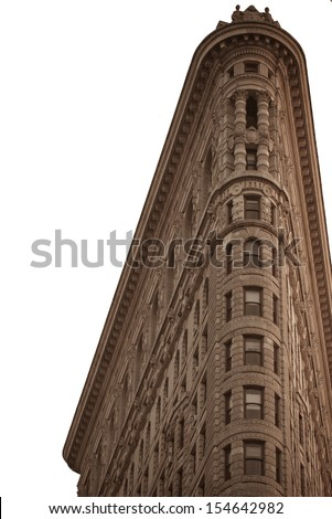 NEW YORK, NY, USA - MARCH 3: Flat Iron building, built in 1902 is of the first skyscrapers ever built, taken on May 6, 2012 in New York City, United States. - stock photo