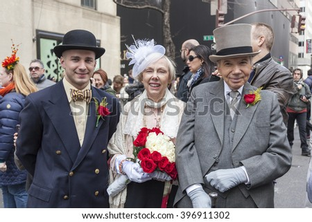 New York, NY, USA - March 27, 2016: Unidentified people in costumes attend 2016 New York Easter Parade and Bonnet Festival on 5th Avenue, Manhattan.
