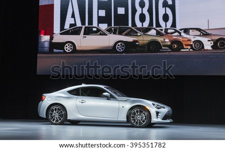 New York, NY USA - March 23, 2016: Unveiling Toyota sport car 86 2017 at New York International Auto Show at Jacob Javits Center - stock photo