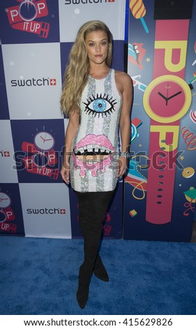 New York, NY USA - May 3, 2016: Nina Agdal attends Swatch celebrations of Times Square store opening - stock photo