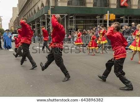 New York, NY USA - May 20, 2017: Russian dancers dance during 2017 Dance parade on streets of New York