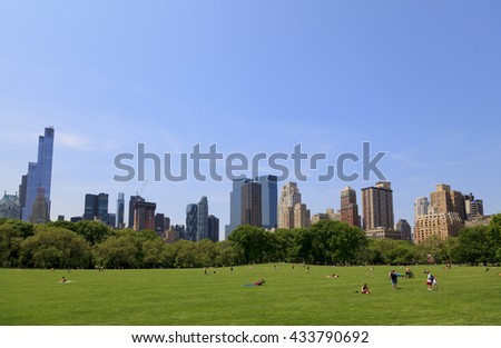 New York, NY, USA - May 25, 2016: Sheep Meadow: Sheep Meadow is a 15-acre (61,000 m2) preserve located at the west side of Central Park from 66th to 69th Streets in Manhattan, New York City.  - stock photo