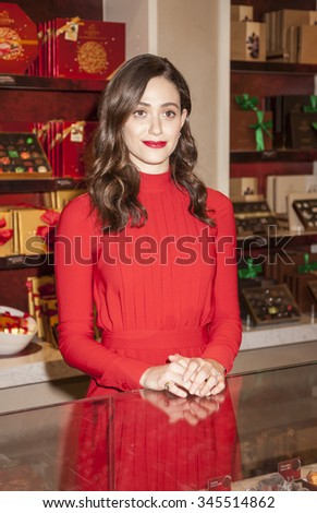 New York, NY, USA - November 30, 2015: Actress Emmy Rossum attends GODIVA kick-off to HOT CHOCOLATE FOR A CAUSE, benefiting Toys for Tots foundation at  GODIVA Chocolatier, 650 5th Avenue, Manhattan