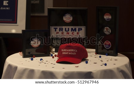 New York, NY USA - November 8, 2916: Donald Trump elected 45th President of USA memorabilia on display at victory party at Hilton hotel New York