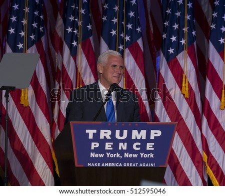 New York, NY USA - November 8, 2916: Mike Pence elected Vice President of USA speaks on stage during victory party at Hilton hotel New York