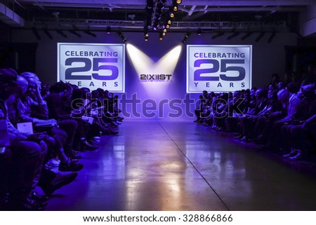 New York, NY, USA - October 14, 2015:A model walks the runway for the 2(X)IST Spring/Summer 2016 Fashion Show to commemorate the brand 25th anniversary at Skylight Modern, Manhattan - stock photo