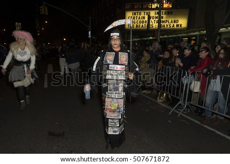 New York, NY USA - October 31, 2016: Atmosphere at 43rd annual Halloween parade in West village in New York