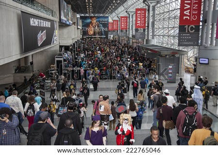 New York, NY, USA - October 10 2014: View of general atmosphere during Comic Con 2014 at The Jacob K. Javits Convention Center in New York City - stock photo