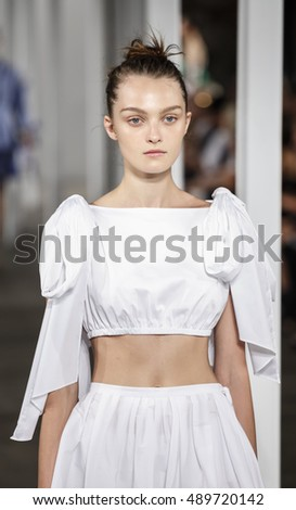 New York, NY, USA - September 9, 2016: A model walks runway for the MILLY by Michelle Smith Spring/Summer 2017 runway show during New York Fashion Week SS 2017 at The Artbeam, Manhattan