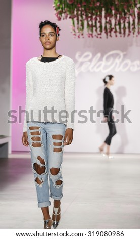 New York, NY, USA - September 14, 2015: A model walks runway rehearsal at Lela Rose runway show during Spring 2016 New York Fashion Week at The Gallery, Skylight Clarkson Sq., #NYFW, #lelarose - stock photo