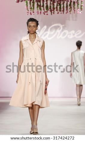 New York, NY, USA - September 14, 2015: A model walks the runway at Lela Rose runway show during of Spring 2016 New York Fashion Week at The Gallery, Skylight Clarkson Sq., #CFDANYFW, #NYFW, #lelarose - stock photo
